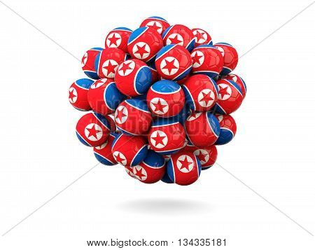 Pile Of Footballs With Flag Of Korea North