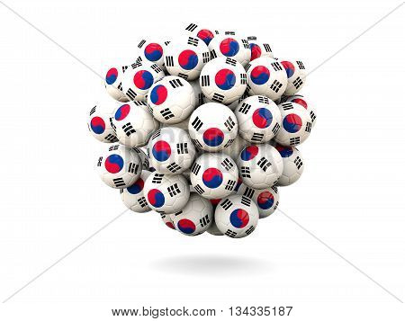 Pile Of Footballs With Flag Of Korea South