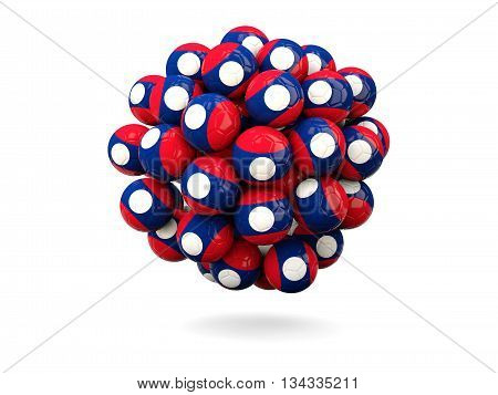 Pile Of Footballs With Flag Of Laos