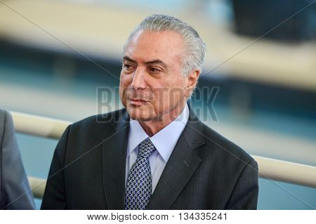 Rio de Janeiro Brazil - june 14 2016: President Michael Temer in exercise during presidential trip to Rio de Janeiro to visit the Olympic Park.