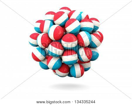 Pile Of Footballs With Flag Of Luxembourg