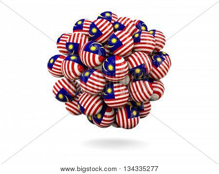 Pile Of Footballs With Flag Of Malaysia