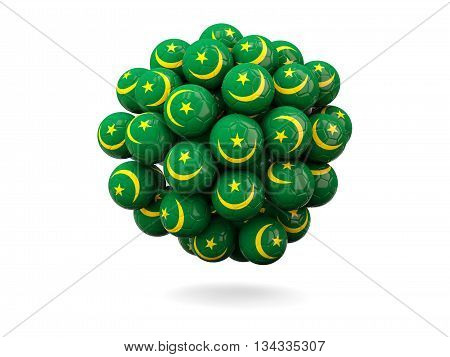 Pile Of Footballs With Flag Of Mauritania