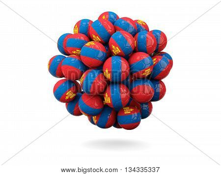 Pile Of Footballs With Flag Of Mongolia