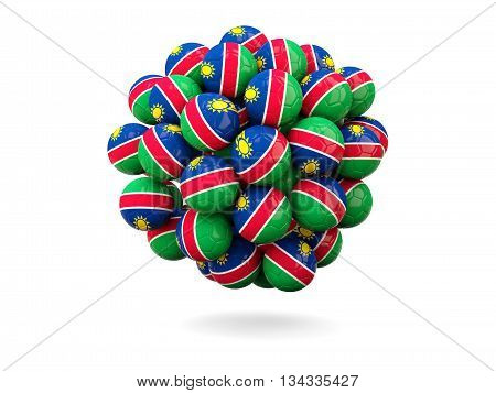 Pile Of Footballs With Flag Of Namibia