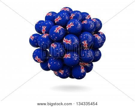 Pile Of Footballs With Flag Of New Zealand