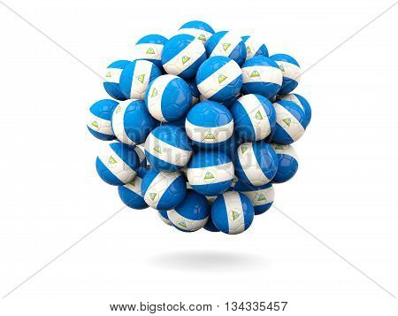 Pile Of Footballs With Flag Of Nicaragua