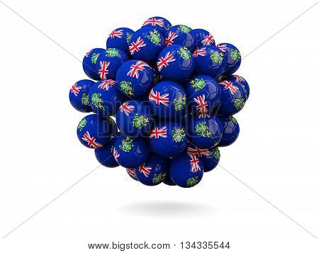 Pile Of Footballs With Flag Of Pitcairn Islands