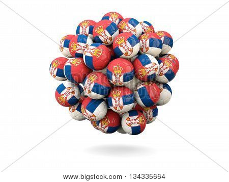 Pile Of Footballs With Flag Of Serbia