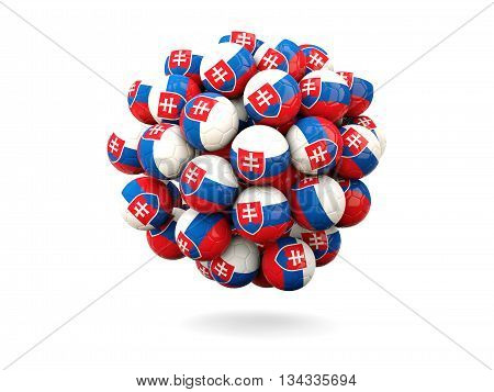 Pile Of Footballs With Flag Of Slovakia