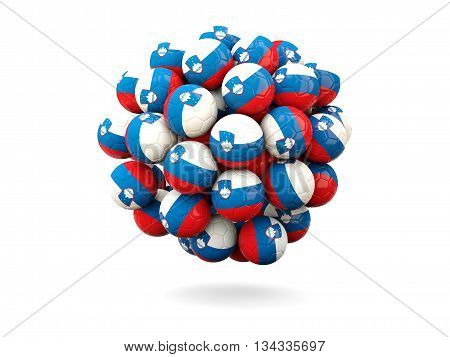 Pile Of Footballs With Flag Of Slovenia