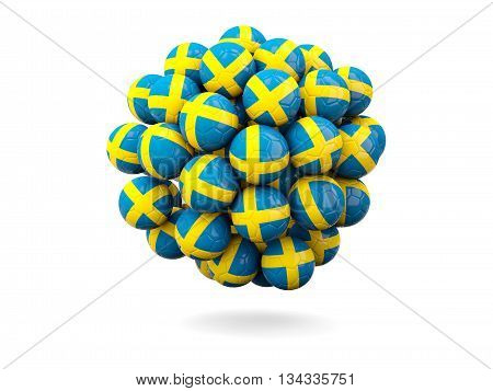 Pile Of Footballs With Flag Of Sweden