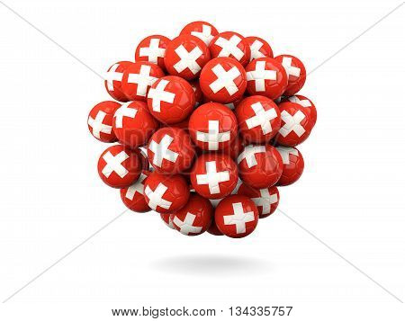 Pile Of Footballs With Flag Of Switzerland