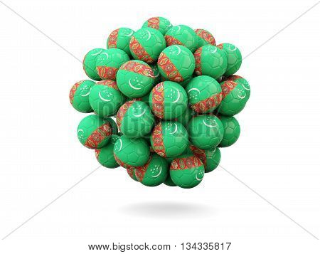 Pile Of Footballs With Flag Of Turkmenistan