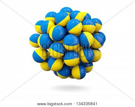 Pile Of Footballs With Flag Of Ukraine