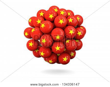 Pile Of Footballs With Flag Of Vietnam
