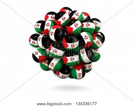 Pile Of Footballs With Flag Of Western Sahara
