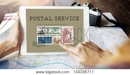 Postal Postage Mail Package Stamp Concept
