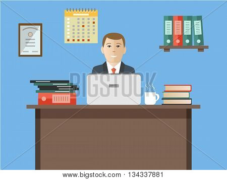 Web banner of an office worker. The man is an employee at work. Vector flat illustration