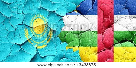 Kazakhstan flag with Central African Republic flag on a grunge c