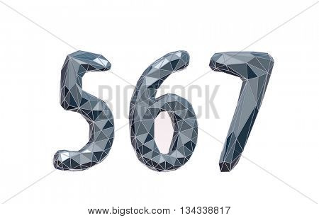 faceted number set 5, 6, 7 3d illustration