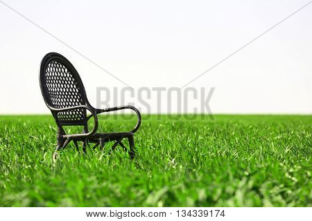 Black chair on the wheat field