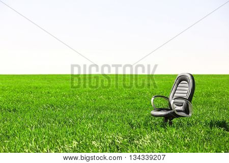 Chair on the wheat field