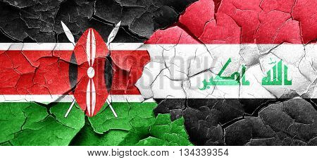 Kenya flag with Iraq flag on a grunge cracked wall