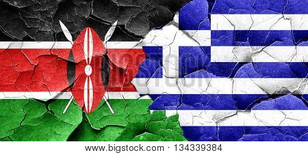 Kenya flag with Greece flag on a grunge cracked wall