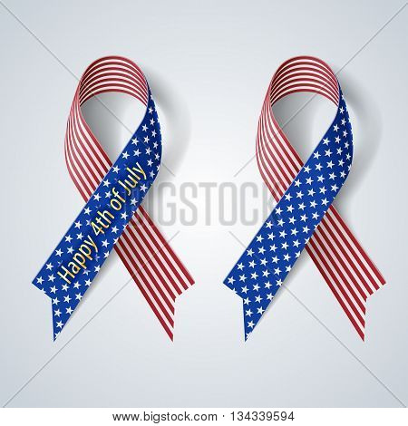 Ribbon isolate on gray Fourth of july Independence day