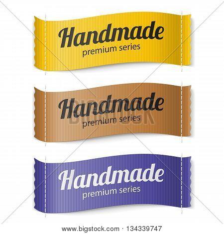 Set of Labels Handmade series hand made yellow brown purple