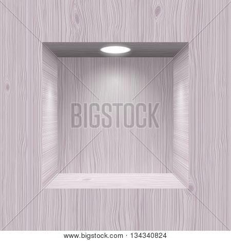 Cubic wooden niche in wall lighted lamp
