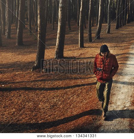 Man Walking Alone Camping Wanderlust Concept