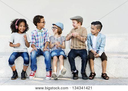Smart Fashionable Cheerful Children Concept