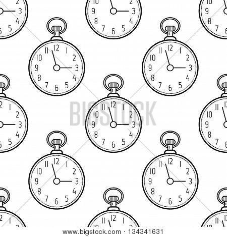 Seamless pattern with flat icons linear pocket watches. Vector illustration