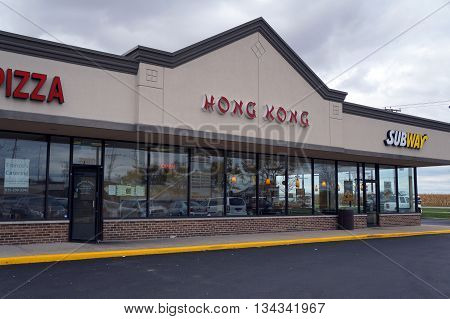 JOLIET, ILLINOIS / UNITED STATES - OCTOBER 9, 2015: The Hong Kong restaurant offers Chinese food in the Crossroads Plaza.