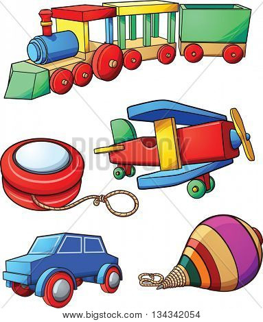 Retro cartoon toys. Vector clip art illustration with simple gradients. Each on a separate layer.