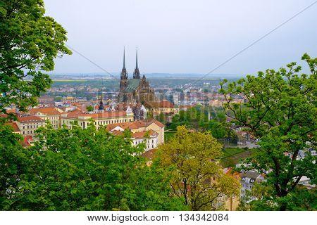 Brno day time old city landscape from Spilberk Castle