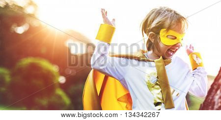 Superhero Kid Playful Happiness Leisure Activity Concept