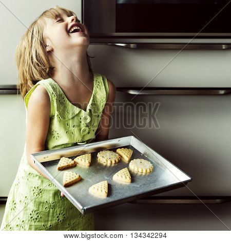 Kid Baking Cooking Cookies Fun Concept