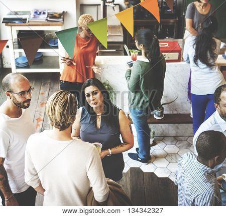 Party Restaurant Colleagues Collaboration Team Concept