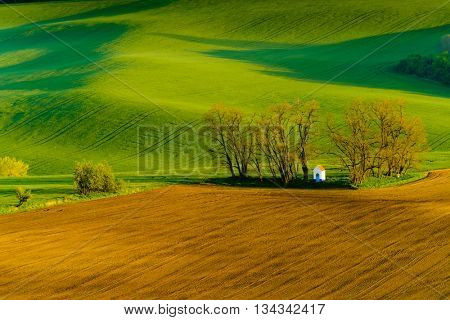 Santa Barbara chapel landscape at spring in South Moravia, Czech Republic