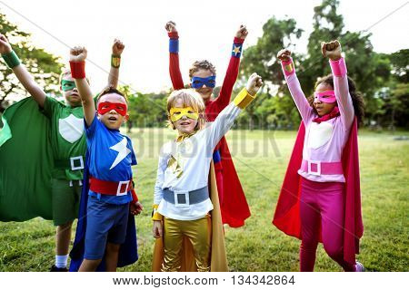 Superheroes Kids Friends Playing Togetherness Concept