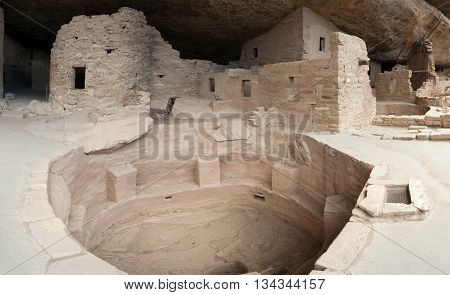Main Well In Cliff Palace, Ancient Puebloan Village Of Houses And Dwellings In Mesa Verde National P