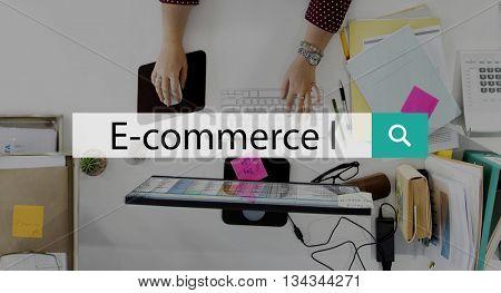 E-Commerce Digital Marketing Global Business Concept