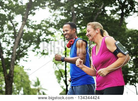 Couple Exercise Wearing Happiness Healthy Concept