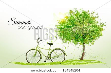 Summer background with a green tree and a bike. Vector.