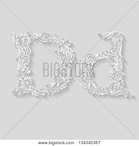 Handsomely decorated letter D in upper and lower case on gray