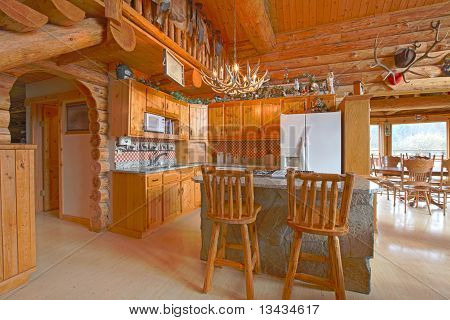 Beautiful Kitchen In The Rustic Log Cabin