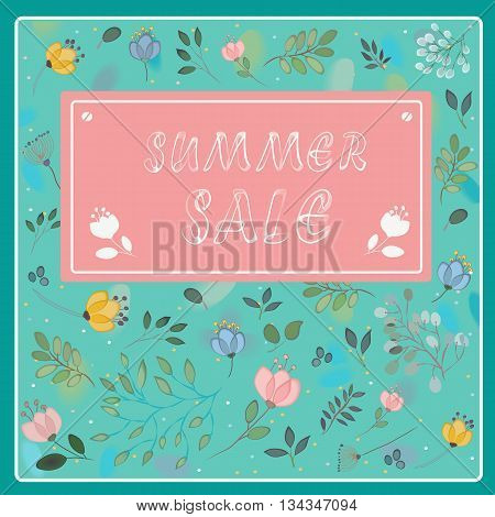 Summer sale inscription. Vintage floral card. Watercolor flowers with green background. Pink banner. Illustration.